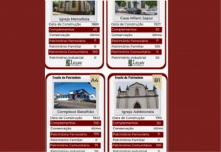 Cartas do jogo Trunfo com informações sobre os patrimônios históricos